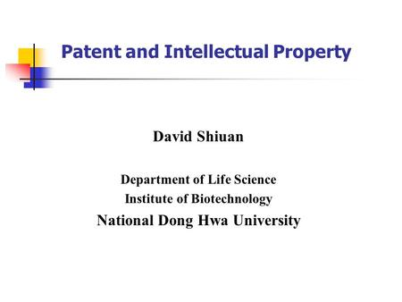 Patent and Intellectual Property