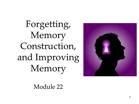1 Forgetting, Memory Construction, and Improving Memory Module 22.
