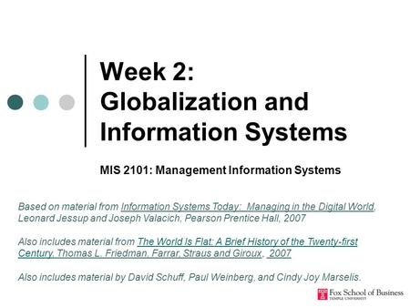 Week 2: Globalization and Information Systems MIS 2101: Management Information Systems Based on material from Information Systems Today: Managing in the.
