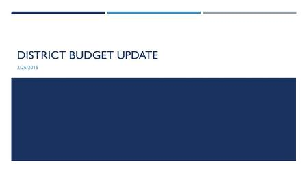 DISTRICT BUDGET UPDATE 2/26/2015. GOVERNOR'S BUDGET PROPOSAL Proposed 2015-16 Augmentations for CCCs  $200M for student success – These funds will be.