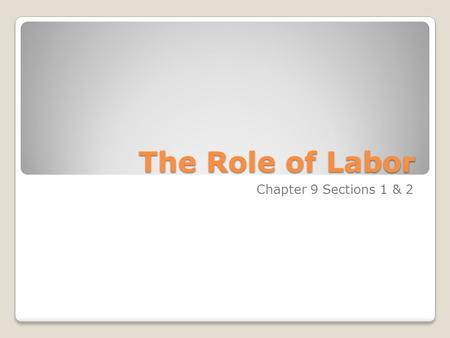 The Role of Labor Chapter 9 Sections 1 & 2. The Role of Labor Labor, the human effort that produce goods and services, is subject to the same forces of.