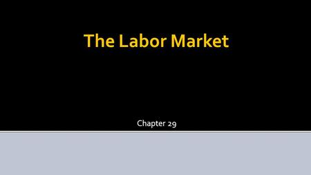 The Labor Market Chapter 29. The Labor Market  Supply of labor – number of people willing to work at different wage-levels  Demand for labor – number.