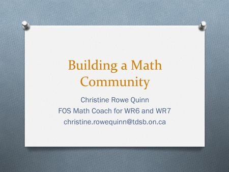 Building a Math Community