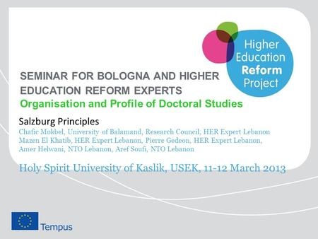 SEMINAR FOR BOLOGNA AND HIGHER EDUCATION REFORM EXPERTS Organisation and Profile of Doctoral Studies Salzburg Principles Chafic Mokbel, University of Balamand,