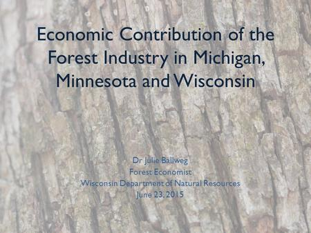 Economic Contribution of the Forest Industry in Michigan, Minnesota and Wisconsin Dr Julie Ballweg Forest Economist Wisconsin Department of Natural Resources.
