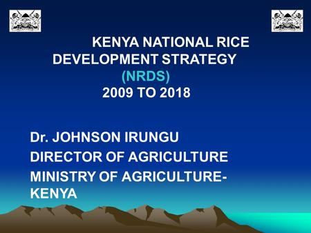 KENYA NATIONAL RICE DEVELOPMENT STRATEGY