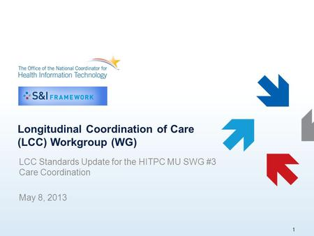 Longitudinal Coordination of Care (LCC) Workgroup (WG) LCC Standards Update for the HITPC MU SWG #3 Care Coordination May 8, 2013 1.