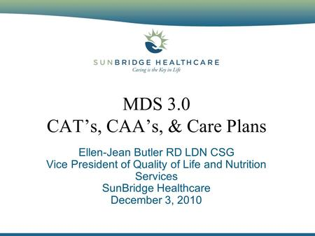 MDS 3.0 CAT's, CAA's, & Care Plans Ellen-Jean Butler RD LDN CSG Vice President of Quality of Life and Nutrition Services SunBridge Healthcare December.