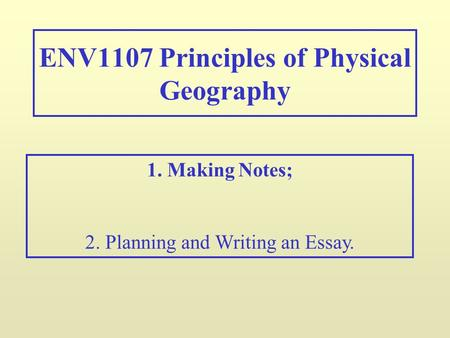 Physical geography essay topics