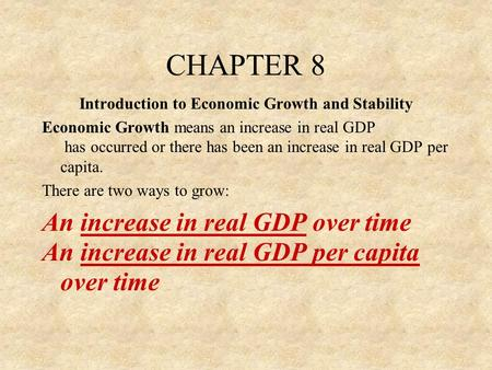 Introduction to Economic Growth and Stability