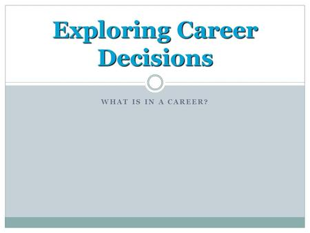 WHAT IS IN A CAREER? Exploring Career Decisions. The Career Planning Cycle 1. Self-Assessment Interests Skills Personality Values 2. Career Exploration.