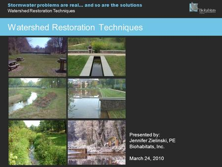 Stormwater problems are real… and so are the solutions Watershed Restoration Techniques Presented by: Jennifer Zielinski, PE Biohabitats, Inc. March 24,