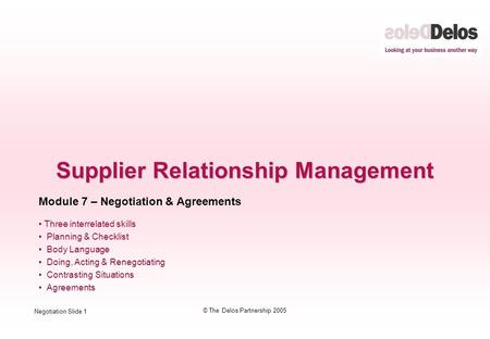 negotiation and relationship management