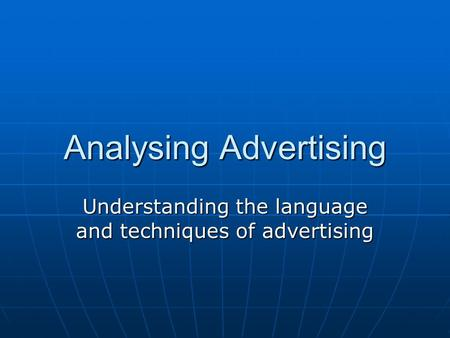 Analysing Advertising