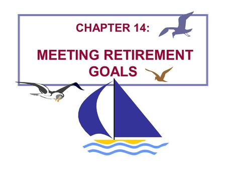 CHAPTER 14: MEETING RETIREMENT GOALS 14-2 Pitfalls in Retirement Planning  Starting too late.  Putting away too little.  Investing too conservatively.