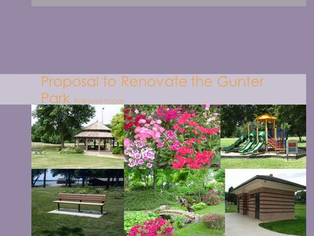 Proposal to Renovate the Gunter Park By Brooke Hogan By Brooke Hogan.