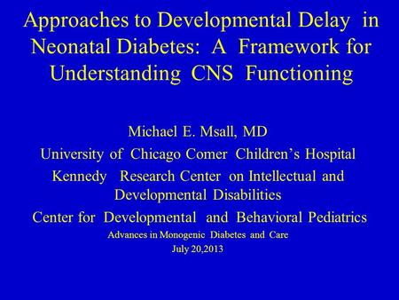 Approaches to Developmental Delay in Neonatal Diabetes: A Framework for Understanding CNS Functioning Michael E. Msall, MD University of Chicago Comer.