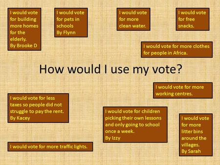 How would I use my vote? I would vote for building more homes for the elderly. By Brooke D I would vote for pets in schools By Flynn I would vote for more.