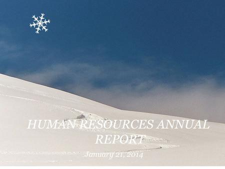 HUMAN RESOURCES ANNUAL REPORT January 21, 2014. Human Resources Recruitment & Retention Hiring Entry Interview Exit Interview Retirement Planning Orientation.