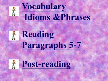 Vocabulary Idioms &Phrases Reading Paragraphs 5-7 Post-reading.