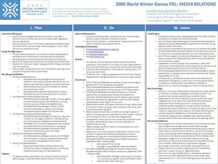 2009 World Winter Games PDL: MEDIA RELATIONS I. PlanII. DoIII. Learn Overview/Purpose: Ensure Games message be delivered consistently, accurately, effectively.