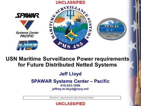 UNCLASSIFIED 1 Distribution A. Approved for public release. Distribution Unlimited. USN Maritime Surveillance Power requirements for Future Distributed.