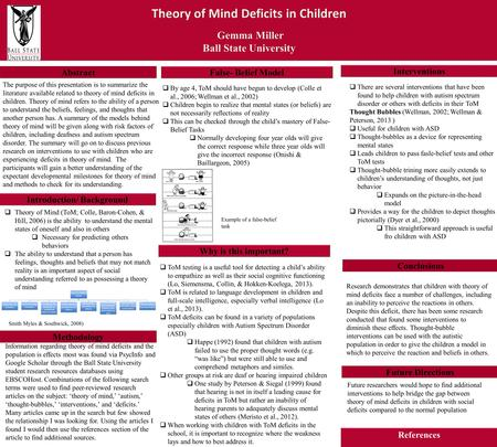 Theory of Mind Deficits in Children Gemma Miller Gemma Miller Ball State University Theory of Mind Deficits in Children Gemma Miller Gemma Miller Ball.