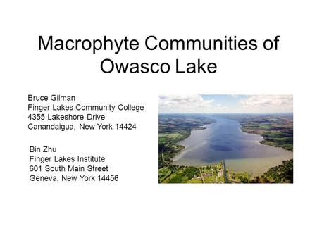 Macrophyte Communities of Owasco Lake Bin Zhu Finger Lakes Institute 601 South Main Street Geneva, New York 14456 Bruce Gilman Finger Lakes Community College.