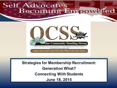 Strategies for Membership Recruitment: Generation What? Connecting With Students June 18, 2015.