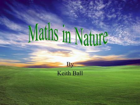 Maths in Nature By Keith Ball.