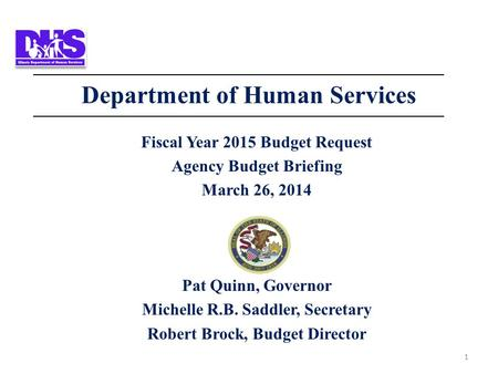 1 Department of Human Services Fiscal Year 2015 Budget Request Agency Budget Briefing March 26, 2014 Pat Quinn, Governor Michelle R.B. Saddler, Secretary.