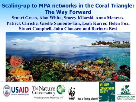 Scaling-up to MPA networks in the Coral Triangle: The Way Forward Stuart Green, Alan White, Stacey Kilarski, Anna Meneses, Patrick Christie, Giselle Samonte-Tan,