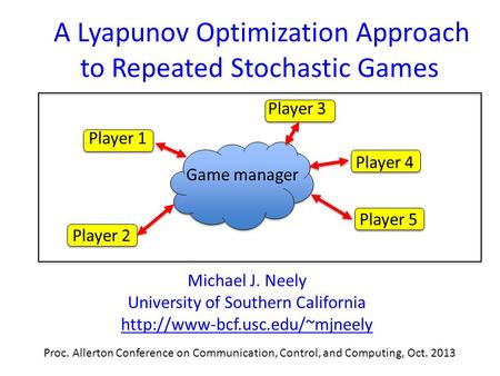 A Lyapunov Optimization Approach to Repeated Stochastic Games Michael J. Neely University of Southern California  Proc.