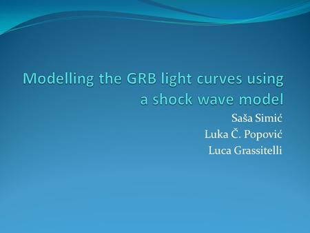 Modelling the GRB light curves using a shock wave model