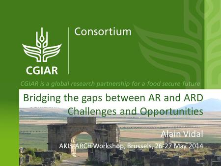 Bridging the gaps between AR and ARD Challenges and Opportunities Alain Vidal AKIS-ARCH Workshop, Brussels, 26-27 May 2014 Photo: A. Vidal.