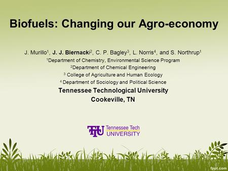 Biofuels: Changing our Agro-economy J. Murillo 1, J. J. Biernacki 2, C. P. Bagley 3, L. Norris 4, and S. Northrup 1 1 Department of Chemistry, Environmental.