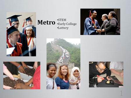 1 Metro STEM Early College Lottery. Inquiry Inquiry Critical Thinking Critical Thinking Communication Communication Active and Responsible Decision-Maker.