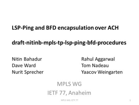 LSP-Ping and BFD encapsulation over ACH draft-nitinb-mpls-tp-lsp-ping-bfd-procedures Nitin BahadurRahul Aggarwal Dave WardTom Nadeau Nurit SprecherYaacov.