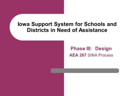 Iowa Support System for Schools and Districts in Need of Assistance Phase III: Design AEA 267 SINA Process Se.