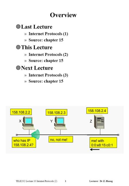 TELE202 Lecture 10 Internet Protocols (2) 1 Lecturer Dr Z. Huang Overview ¥Last Lecture »Internet Protocols (1) »Source: chapter 15 ¥This Lecture »Internet.