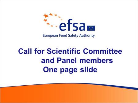 Call for Scientific Committee and Panel members One page slide.