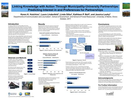 Linking Knowledge with Action Through Municipality-University Partnerships: Predicting Interest in and Preferences for Partnerships Introduction To improve.