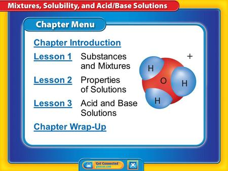 Chapter Menu Chapter Introduction Lesson 1Lesson 1Substances and Mixtures Lesson 2Lesson 2Properties of Solutions Lesson 3Lesson 3Acid and Base Solutions.