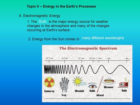 Topic V – Energy in the Earth's Processes