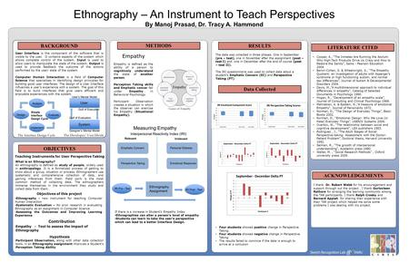 Ethnography – An Instrument to Teach Perspectives By Manoj Prasad, Dr. Tracy A. Hammond BACKGROUND METHODS RESULTS OBJECTIVES Empathy Empathy is defined.