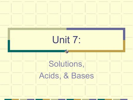 Unit 7: Solutions, Acids, & Bases. I. Definitions and Types of Solutions A. What exactly IS a Solution?