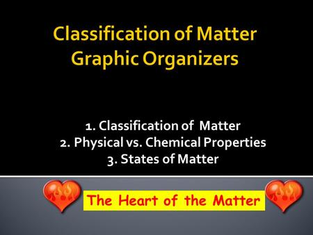 1. Classification of Matter 2. Physical vs. Chemical Properties 3. States of Matter The Heart of the Matter.