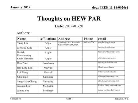 Submission doc.: IEEE 11-14/0026r1 January 2014 Yong Liu, et al.Slide 1 Thoughts on HEW PAR Date: 2014-01-20 Authors: