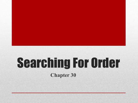 Searching For Order Chapter 30. Describe two positive changes that took place during Richard Nixon's time as President. Nixon was able to establish a.