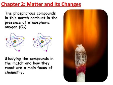 Chapter 2: Matter and Its Changes The phosphorous compounds in this match combust in the presence of atmospheric oxygen (O 2 ) Studying the compounds in.